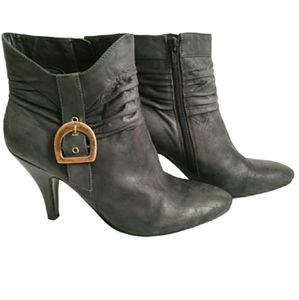 Nine West Dark Grey Slouch High Heel Ankle Boots
